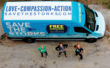Save the Storks is a pro-life nonprofit that offers free pregnancy tests, sonograms, and counseling inside its colorful, mobile, medical, pregnancy centers it parks in front of abortion clinics.