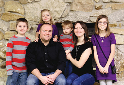 The Tuley family (from left): Samuel, Ruth Ann (in back), Nathan, Josiah, Amy, and Grace.