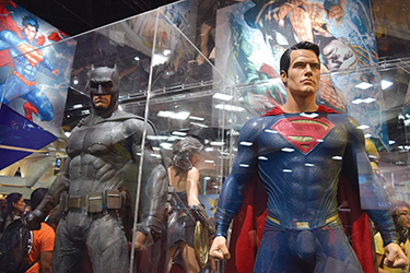 Warner Brothers offered at peek at the superhero costumes for the film Batman v. Superman at Comic-Con International in San Diego, California, last summer. (Photo courtesy of Julie Scott/Wikimedia Commons)