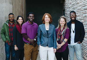 Dr. Miriam Perkins (in the blue jacket) and the Emmanuel Christian Seminary students mentioned in the essay (from left): Kalvin Cummings, Jordan Gignilliat, Stephond Allmond, Perkins, Sarah Colson, and Trevor Wentt. (Photo by Trevor Wentt)