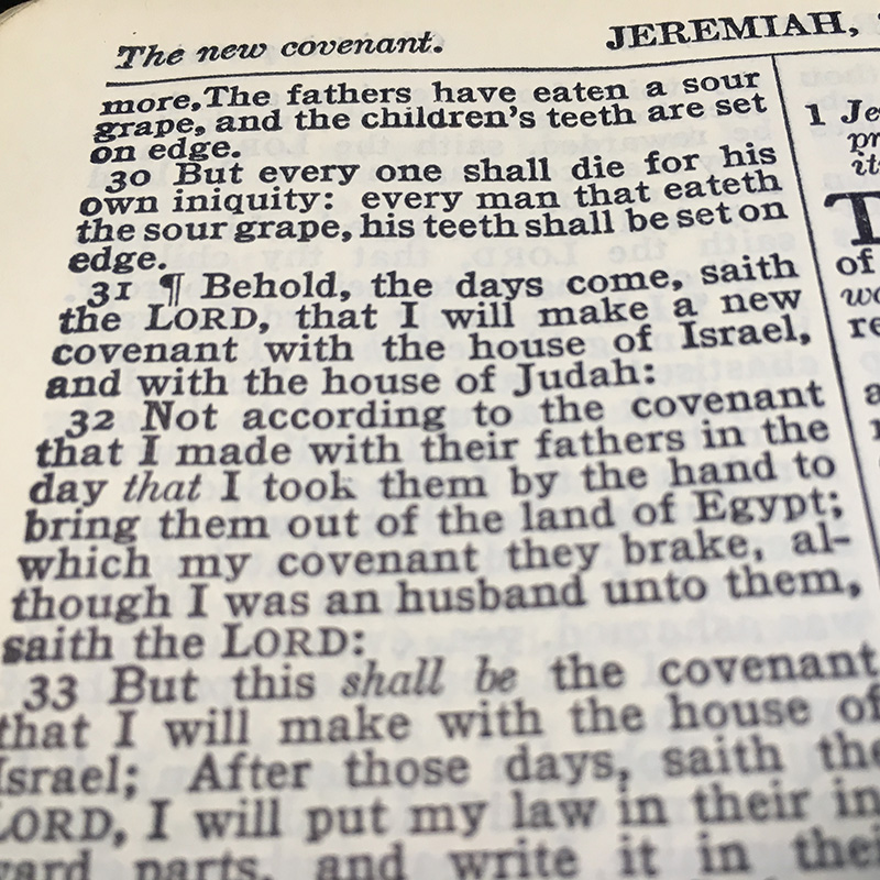 Lesson for November 12, 2017: Promise of a New Covenant (Jeremiah 31:27-34)